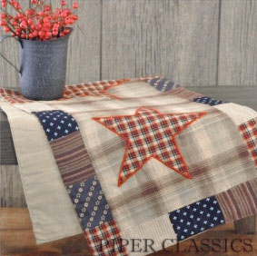 Piper Classics - Distinctive Country Home Decor & Furnishings my account (SIGN IN / CREATE) | view basket      Curtains     Bed & Bath     Kitchen     Furnishings     Country Decor     Seasonal     Embellish     Clearance     New  Patriotic Patch Applique'd Star Runner - 36""