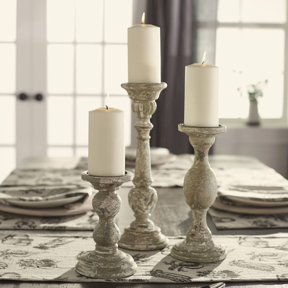 Decorative Accents For Home: Aged Grey Candlestick – Sm