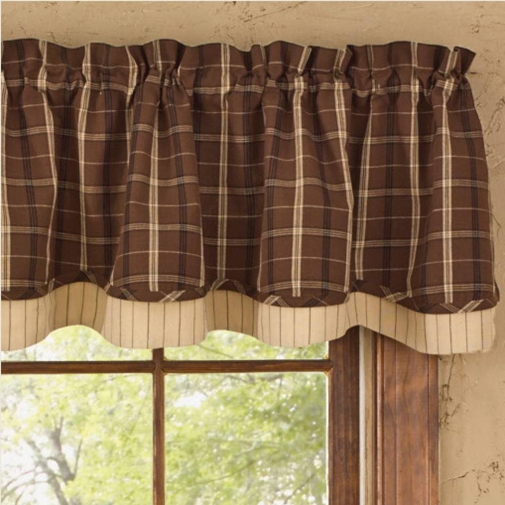 Country layered valance curtains tanner 72 x 16 - Country valances for kitchen ...