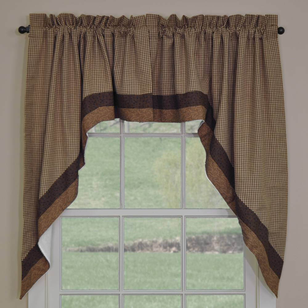 "Rosemary Linen Kitchen Curtain Swag: Shades Of Brown Swags 72"" X 36"""