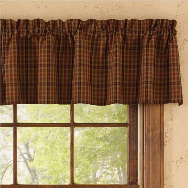 Country Straight Valance Curtains Primitive Spice Pattern