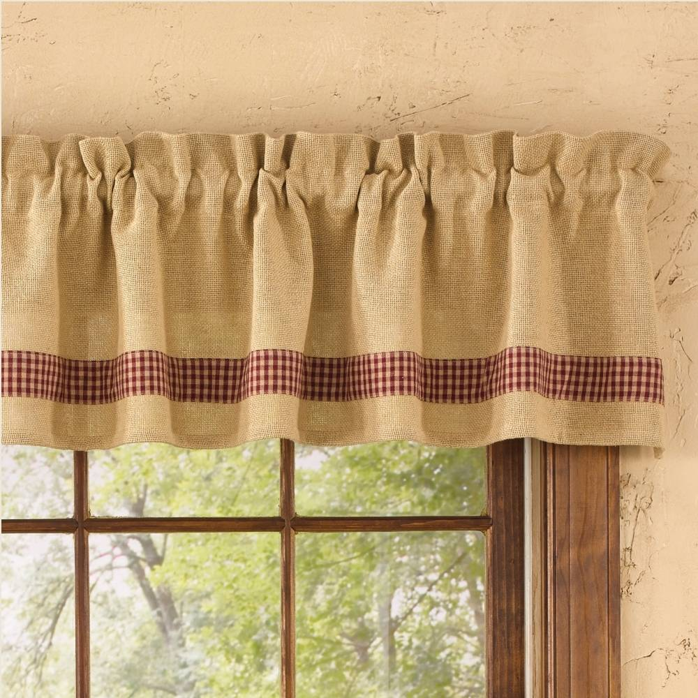 Country Straight Valance Curtains Burlap Amp Check Red 72