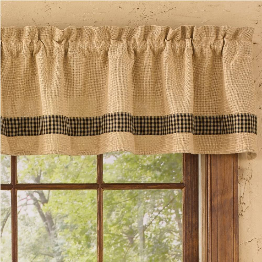 Country Straight Valance Curtains Burlap Amp Check Black