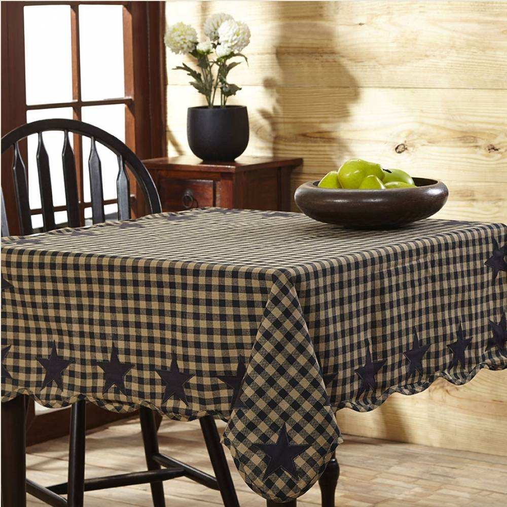 Black Check Amp Star Scalloped Table Cloth 60 Quot X 60 Quot
