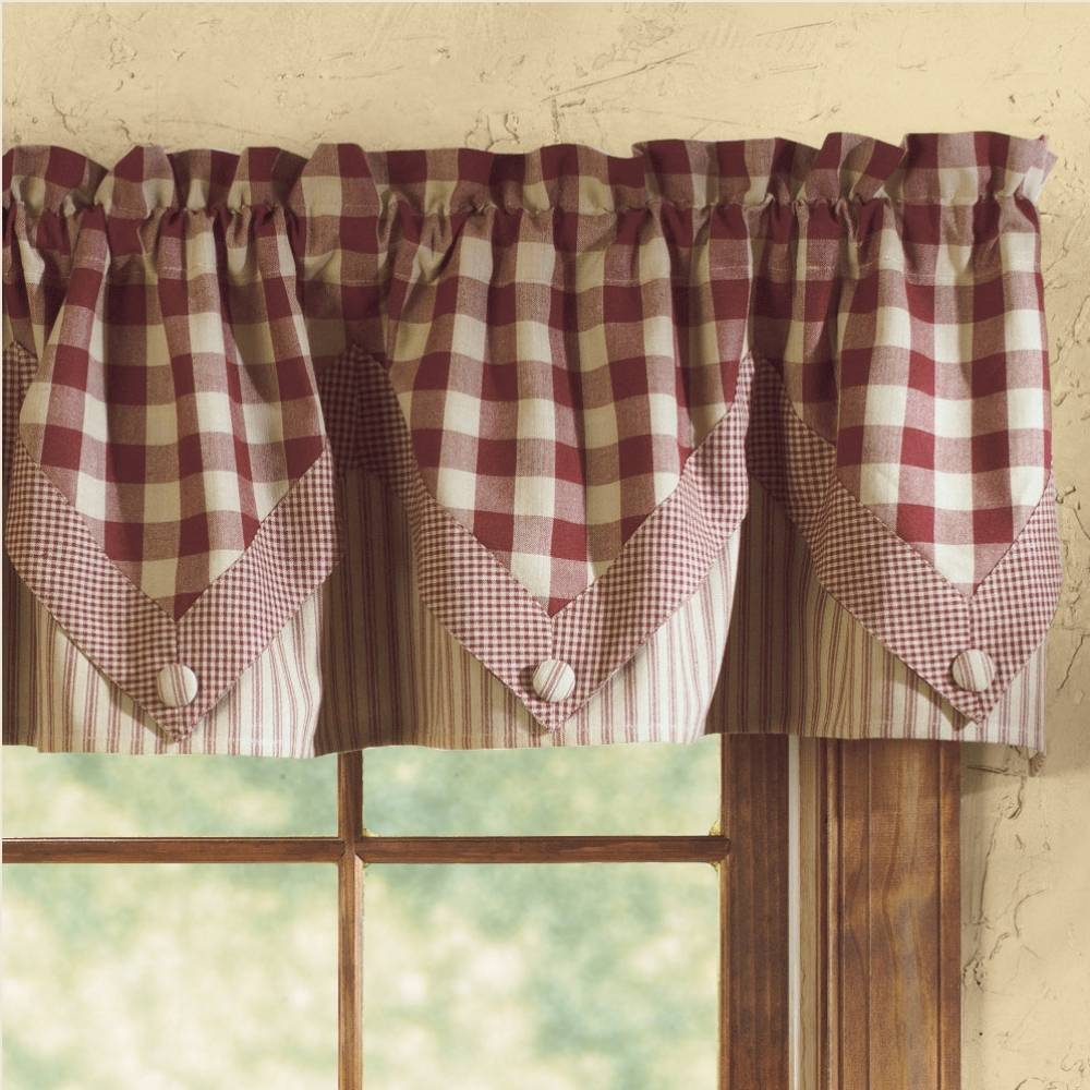 Country Red Kitchen Curtains: Country Point Valance Curtains