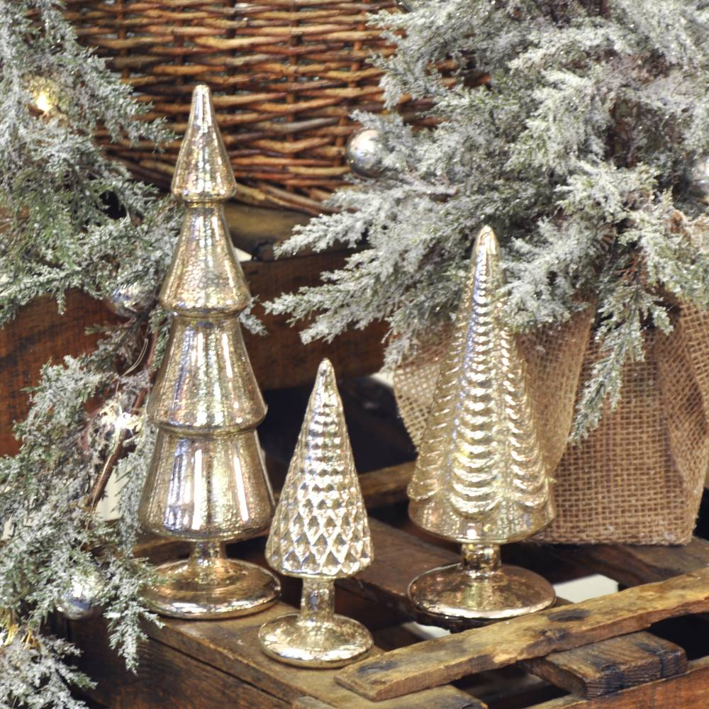 hover to zoom - Mercury Glass Christmas Trees