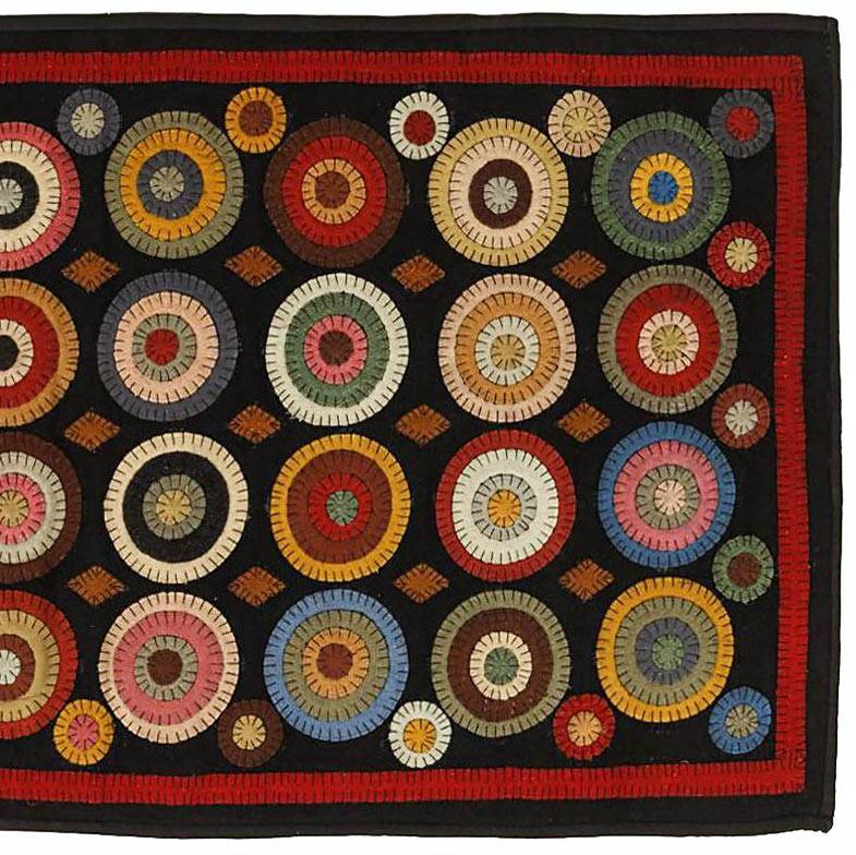 Primitive Country Wool Coin Penny Rug