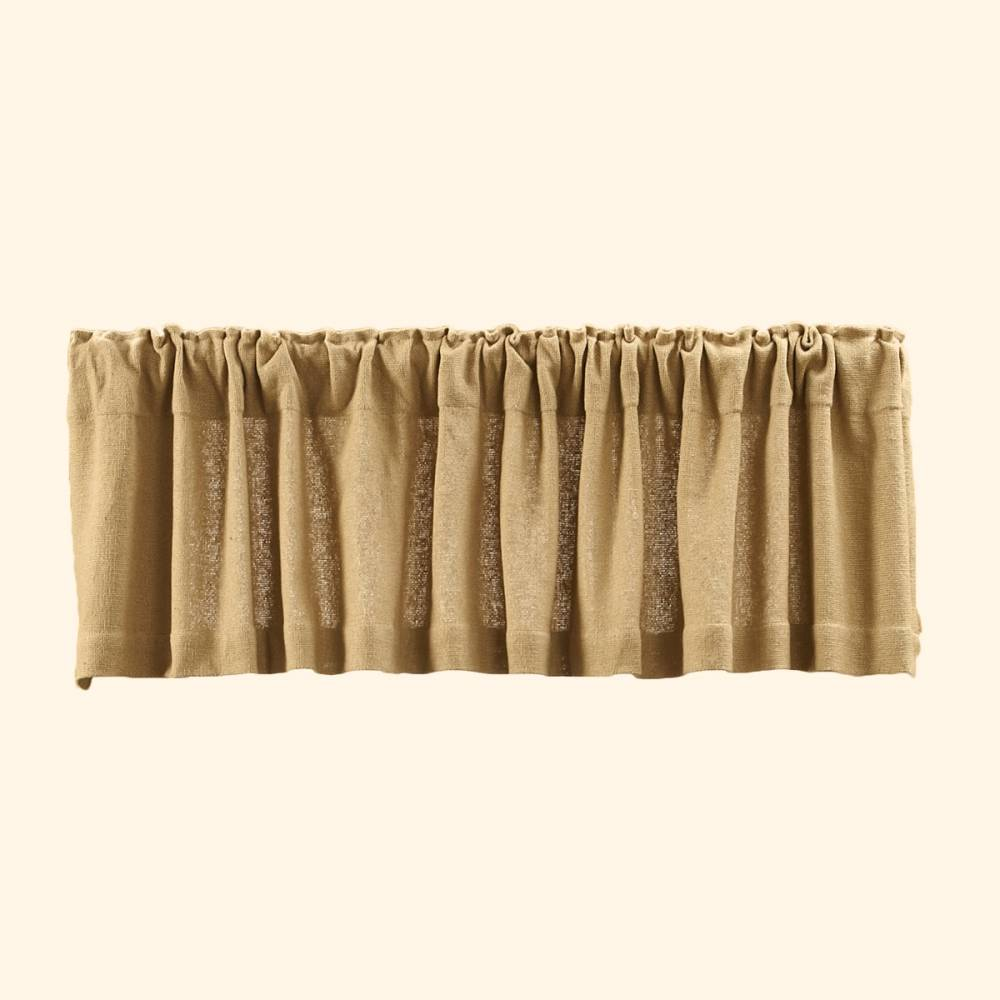 country straight valance curtains burlap natural pattern