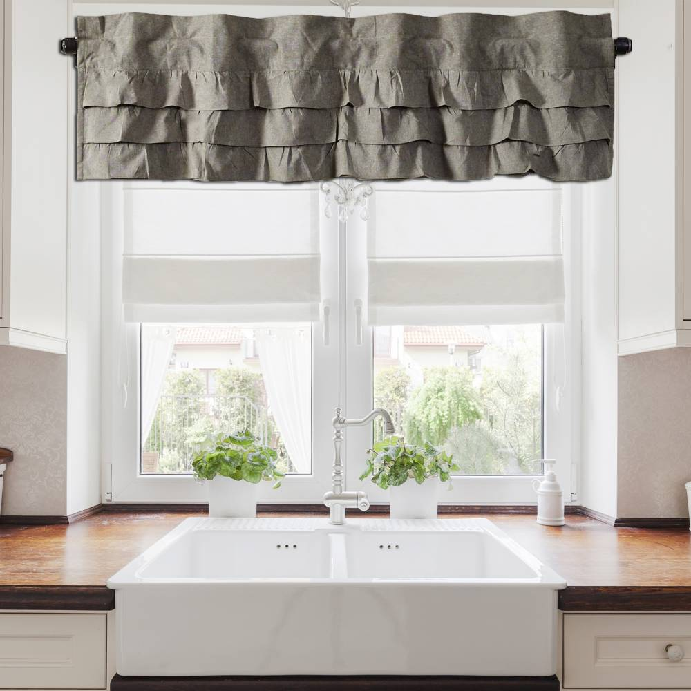 pictures of contemporary bathrooms ruffled chambray grey valance 60 quot wide piper classics 19977