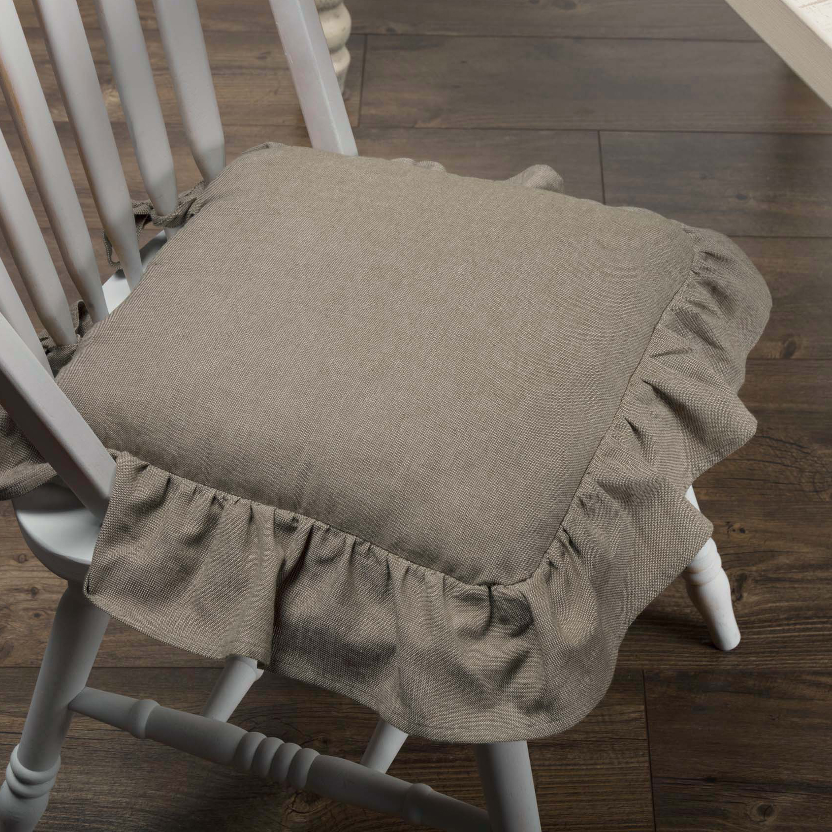 Ruffled Chambray Taupe Grey Chair Pad Piper Classics