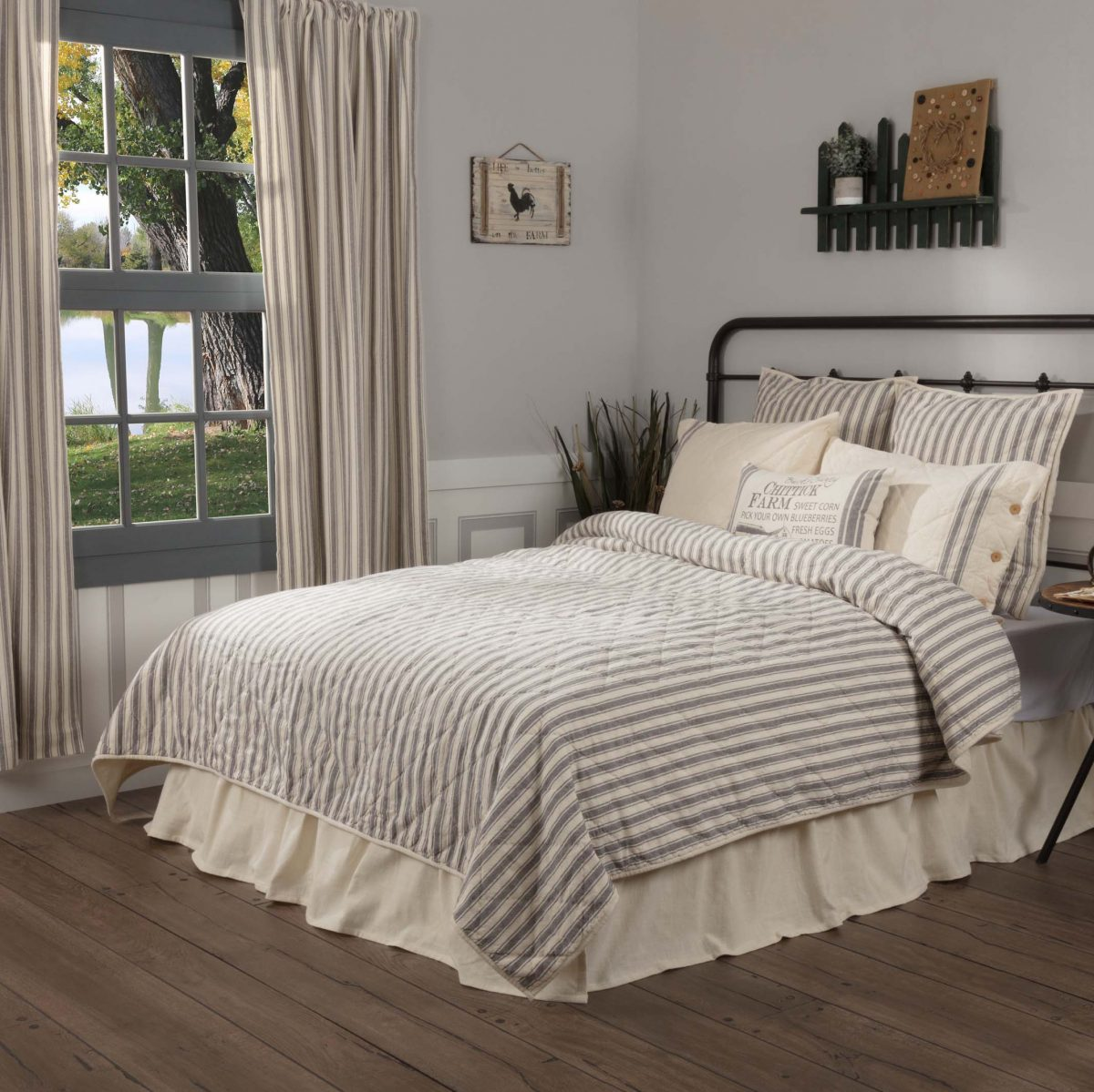 Market Place Gray Ticking Stripe Quilt Twin Piper Classics